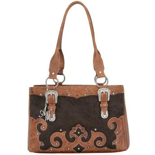 Brown Cowhide Leather Shopper Tote