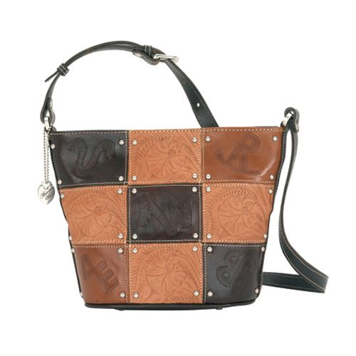 Brown Leather Patch Cross Body Bucket Bag