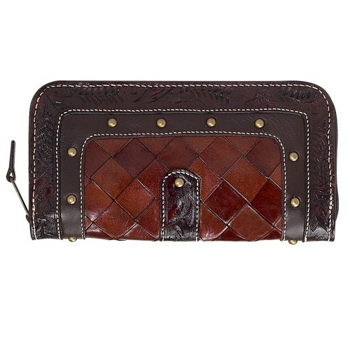 Brown Panelled Leather Purse