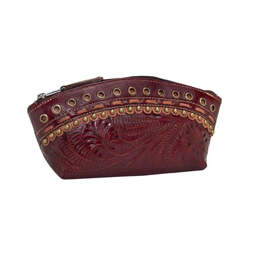 Cherry Leather Cosmetic Bag