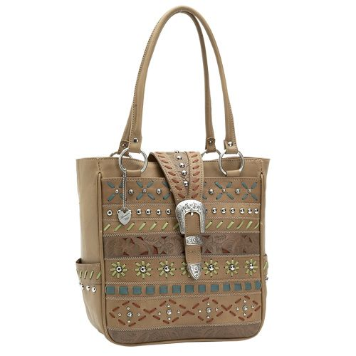 Large Beige Leather Tote