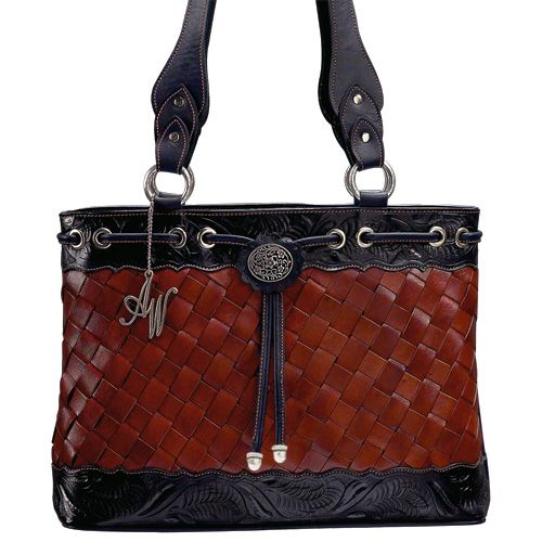 Large Brown and Navy Leather Tote