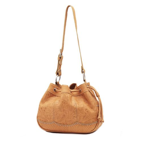 Natural Leather Drawstring Hobo