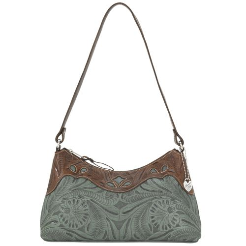 Turquoise and Brown Leather Shoulder Bag